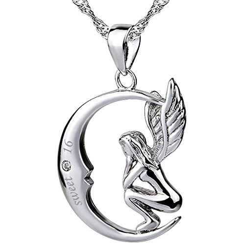 Sterling Silver Moon Angel Necklace Pendant Quote
