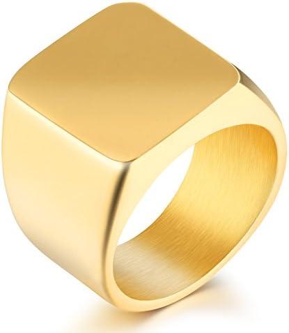 メンズ ゴールド 指輪 ブランド シンプル リング チタン 高級感 人気 カレッジリング メンズ ジュエリー (ゴールド, 19)