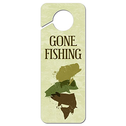Graphics and More Gone Fishing Plastic Door Knob Hanger Sign