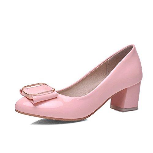 VogueZone009 Damen Lackleder Mittler Absatz Spitz Schließen Zehe Rein Pumps Schuhe Pink
