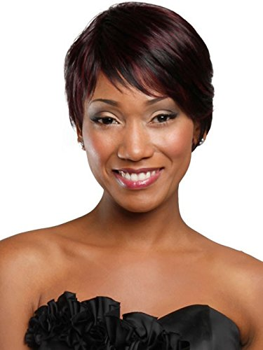 100% Real Human Hair Short Wigs for Black Women Layered Straight Costume Wigs with Side (A Cut Above Costumes)