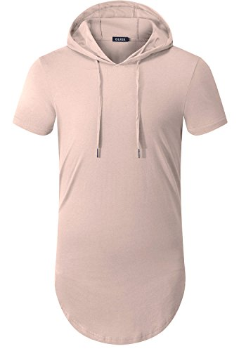 OLRIK Men's Short Sleeve O Neck Hooded Swag Extended Tees Shirts Light Khaki XXL - Game Short Sleeve Tee