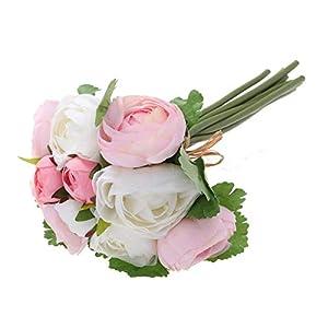 BESTOYARD 10pcs Artificial Flowers Camellia Bridal Wedding Bouquet Bridesmaid Bride Toss Bouquet Home Decoration (Pink & White) 14