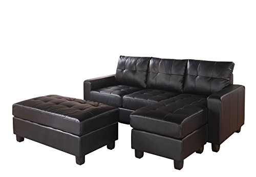 Amazon Com Acme Lyssa Black Bonded Leather Sectional Sofa With