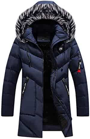 f9f41cafdd049 Mens Long Down Jacket,Winter Faux Fur Removable Hooded Quilted Jacket Hood  Lined Puffer Outerwear
