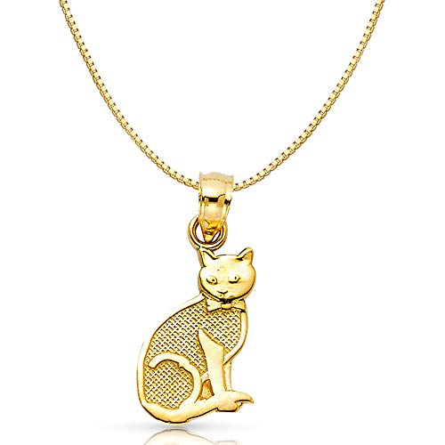 14K Yellow Gold Cat Charm Pendant with 0.8mm Box Chain Necklace - 22