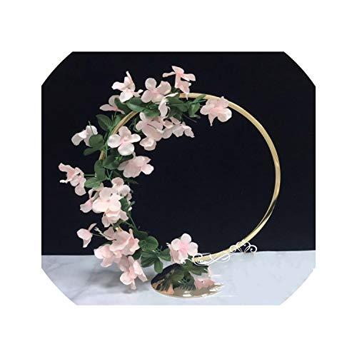 Hoop Centrepiece Stand Wedding Flower vase Metal Column Gold Display Rack Event Party Celebration Decoration,Gold ()