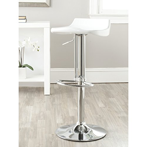 Safavieh Home Collection Avish White Adjustable Swivel Gas Lift 23.6-32.1-inch Bar Stool