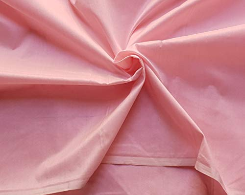 Cotton Silk Fabric Plain Solid Colors Handloom Weaving Material DIY Crafts Sewing Quilting (Peach Pink, 3 Yards)