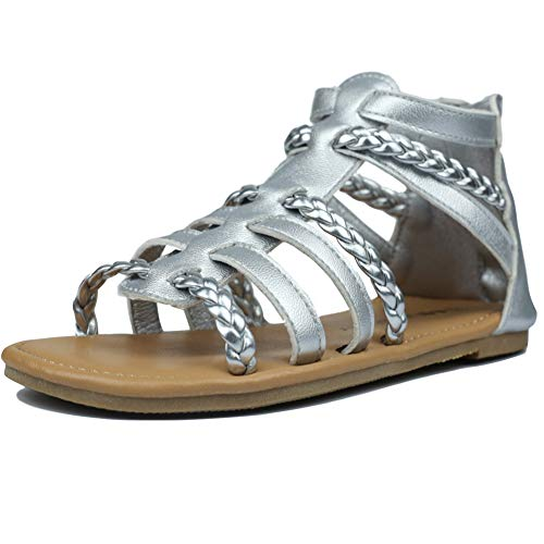 MuyGuay Toddler Girls Gladiator Sandals with Braided Strappy Girls Sandals Summer Shoes with Zipper for Baby Girls/Little Girls (9 M US Toddler, Silver)