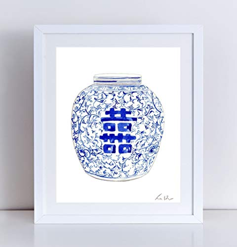 Blue and White Ginger Jar 8 Giclee Art Print Watercolor Painting Wall Home Decor Chinoiserie Double Happiness Symbol Asian Chinese Antique Illustration Cute Pretty Preppy Southern - Jar Delft Ginger