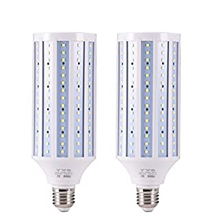 YWD 42W LED Corn Light Bulb,LED Garage Light, Area Light,E26/E27 Medium Base,for Factory Warehouse High Bay Barn Backyard,Cool Daylight White Super Bright - 2 Pack