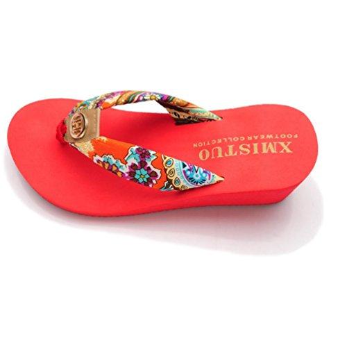 SHANGXIAN zapatillas antideslizantes de tacón alto de las mujeres de la cuña de la sandalia Red