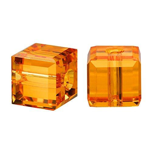 - Swarovski Crystal, 5601 Cube Beads 4mm, 10 Pieces, Topaz