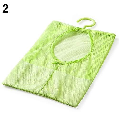 zdfYYkzdf Home Kitchen Bathroom Clothesline Storage Doll Pillow Shelf Mesh Organizer Bag Green