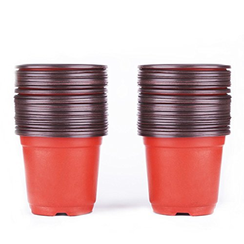 PEMOTech Plastic Nursery Pots, 100 Pack 4'' Plants Nursery Pots, Flower Seedling Nursery Supplies, Seed Starting Pots, Plant Containers for Vegetable, Fruit, Flower, Plant by PEMOTech