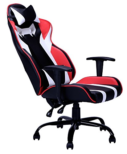 BestMassage Gaming Office Racing Chair Desk Computer Ergonomic Swivel Chair with Back Support for Video Game with Footrest Lumbar and Head Support