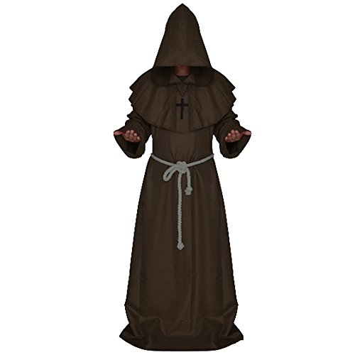 [Church High Priest Monk Druid Costume Halloween Party Dress Medieval Hooded Cloak Monk Priest Robe Tunic Coffee,] (Brown Monk Robe Costume)