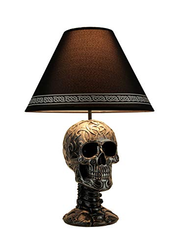 Light of Wisdom Gothic Tribal Skull Table Lamp with Shade (Table Gothic Bedside)