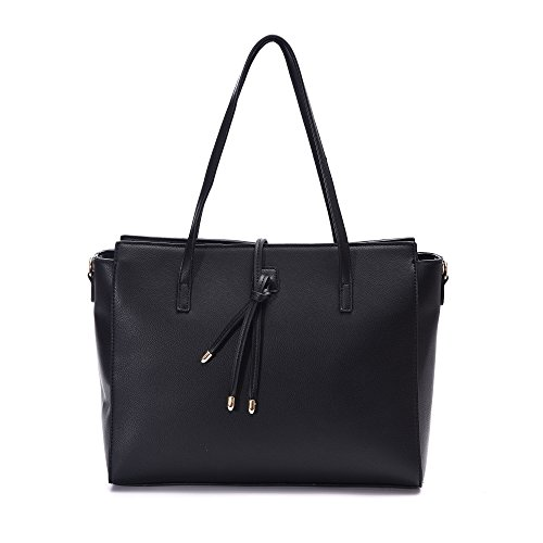 Women's Leather Tote  Shoulder   Large  Handbags Fit 13 Inch Laptop Zippered Faux Leather Purse