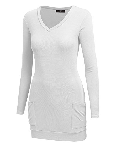 Made By Johnny WT1184 Womens V-Neck Long Sleeve Pocket Tunic Top S White
