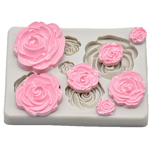(Euone  Cake Mold, Rose Flower Silicone Mold Fondant Mold Cake Decorating Tools Chocolate Mold)