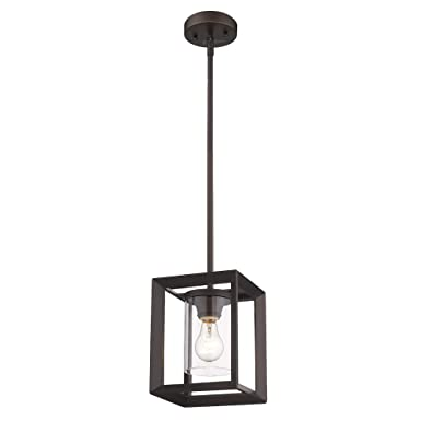 Emliviar Modern Glass Pendant Light, Single Light Metal Wire Cage Hanging Pendant Light, Oil Rubbed Bronze with Clear Glass Shade and 42 Rod, 2083M1L ORB