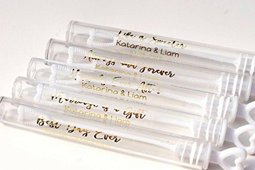 Clear Personalized Wedding Bubble Labels with Gold Writing