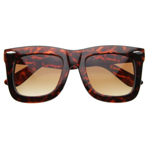 r Inspired Womens Thick Large Horn Rimmed Sunglasses (Tortoise) ()