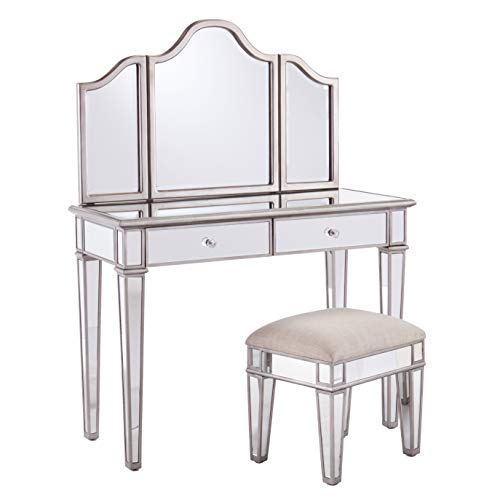 - Mirrored Vanity Set with Stool - Metallic Silver - 2 Drawers w/Crystal Knobs