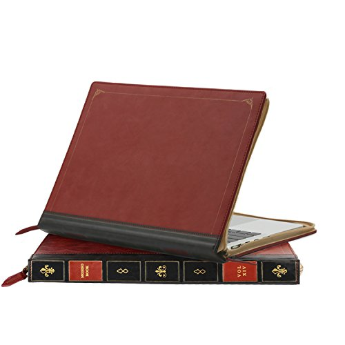 MOSISO PU Leather Zippered Case Only for MacBook Pro 13 Inch with Retina Display No CD-ROM (A1502 / A1425, Version 2015/2014 / 2013 / end 2012), Vintage Classic Premium Book Sleeve Cover, Wine Red by MOSISO (Image #3)