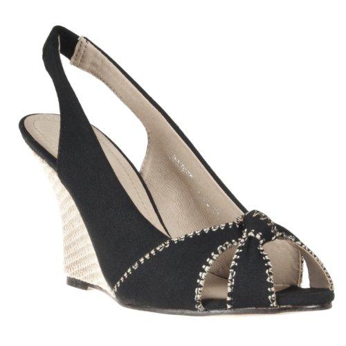 Riverberry Womens Jenifer Slingback Peep Toe Wedges, Black, Black, Size 8.5