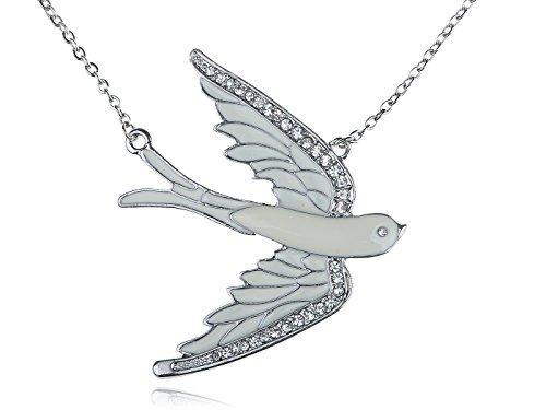 White Dove Necklace (Alilang Silvery Tone Clear Crystal Colored Rhinestones White Bird Dove Pendant Necklace)