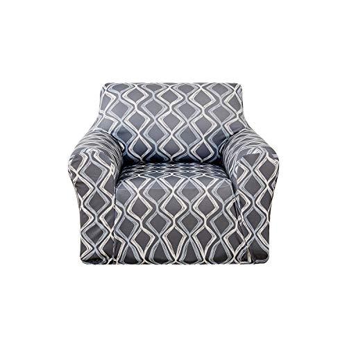 (Deconovo Trellis Print Sofa Slipcover Spandex Stretch Strapless Armchair Slipcover for Living Room Grey)