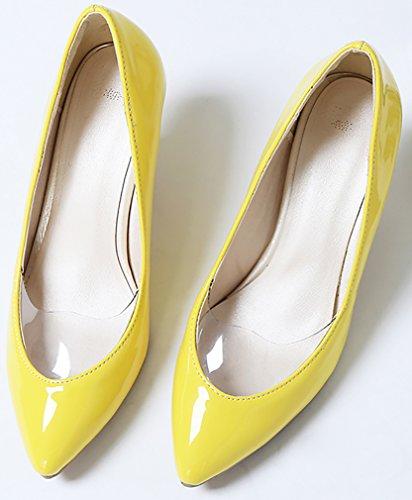 Pointed Jtaai Yellow Calaier 6CM on Women Court Toe Slip Stiletto Shoes w6Ep1