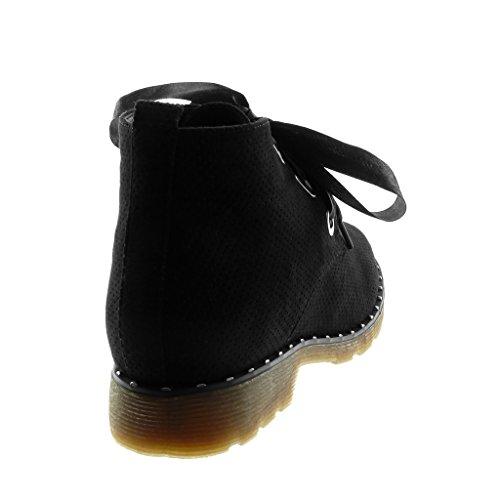 Angkorly Zapatillas Moda Botines Zapato Derby Desert Boots Mujer Codones de Saten Perforado Tachonado Tacón Ancho 3 cm Negro