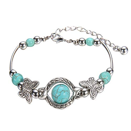 Natural Turquoise Carved Butterfly Pendant Bohemian Women's Bracelet Jewelry Accessories (Multicolor)