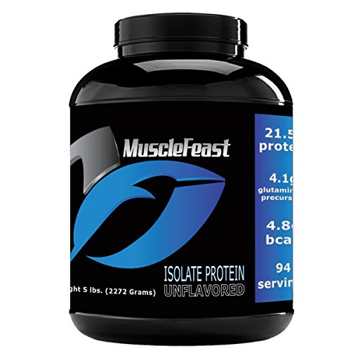 Grass Fed Whey Protein Isolate - by Muscle Feast | All Natural, Lactose Free and Homone Free | NO Soy, Gluten or GMOs | 4.8g of BCAA's Per Serving (5lb, Unflavored) -
