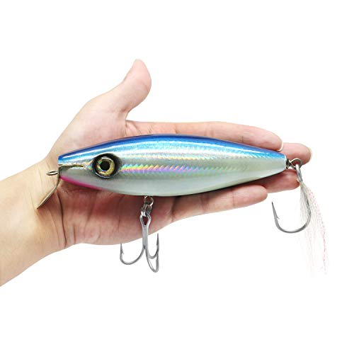 (YZD Saltwater Trolling Fishing Lure Minnow Hard Bait 4.5'' 6'' Big Game Floating Topwater Crankbait Lure for Kingfish Tuna Mackerel Marlin GT Ulua Bait (Blue, 6 inch 2.7 oz))