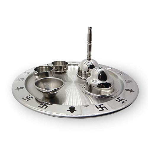 Silver Color Diya and Aarti Joyt Inbuiled for Traditional Religious//Festive Occasion//Easter Day Gift 9.5 Inch Big Christmas Gift Stainless Steel Finished Pooja Thali with Insence Holder