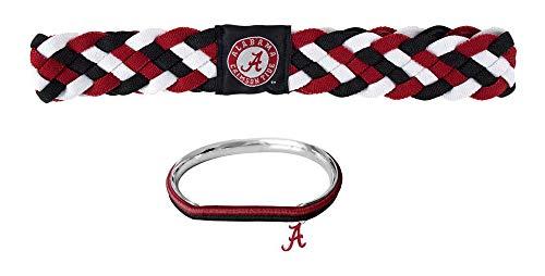 GameDay Novelties NCAA Alabama Crimson Tide Braided Headband and Hair Tie Bangle