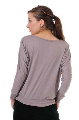 camiseta manga larga / T-Shirt mujer estampa polvere di fata 3Elfen marron blanco