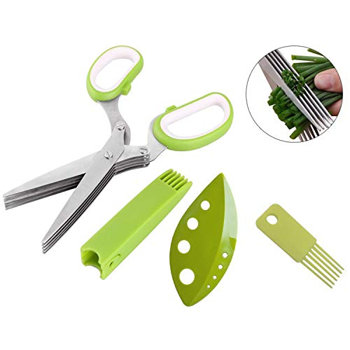 Herb Scissors set Multi-function shredding scissors with 5 Heavy Duty Stainless Steel Blades,Kitchen Cutting Shears with Safety Cover with Cleaning Brush,Herb Cutter/Chopper/Mincer Kitchen Gadget