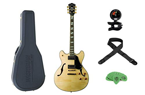 Washburn Natural Maple Hollow Body Electric Guitar w/Hardshell Case+Snark SN-5 Clip-On Tuner+ Levy's Woven Poly Guitar Strap+ Dunlop Tortex Standard .88mm Guitar Picks - 12 Pack