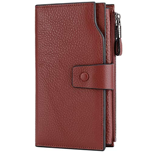 Itslife Women's RFID Blocking Large Capacity Luxury Wax Genuine Leather Clutch Wallet Card Holder Organizer Ladies Purse (2-Natural Dark Red)
