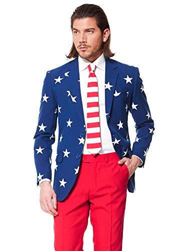 OppoSuits Men's Stars and Stripes Party Costume Suit, Blue/Red/White, 44 -