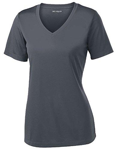 Ladies Wicking T-shirt - DRI-EQUIP Ladies Short Sleeve V-Neck Moisture Wicking T-Shirt-IronGrey-XL