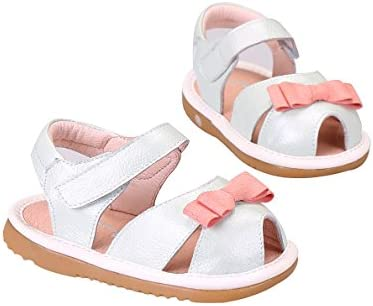 Tortor 1Bacha Genuine Leather Bowknot Peep Toe Squeaky Sandals Toddler Girl