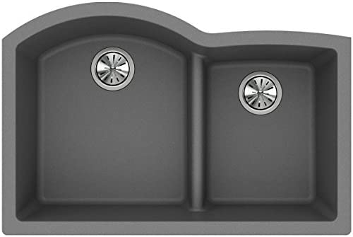 Elkay Quartz Classic ELGHU3322RGS0 Greystone Offset 60 40 Double Bowl Undermount Sink with Aqua Divide