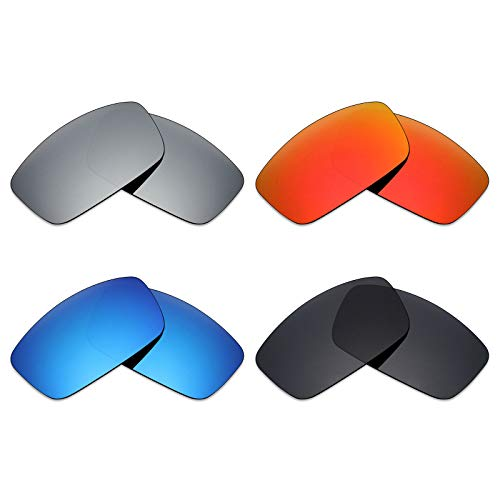 Mryok 4 Pair Polarized Replacement Lenses for Spy Optic Logan Sunglass - Stealth Black/Fire Red/Ice Blue/Silver Titanium